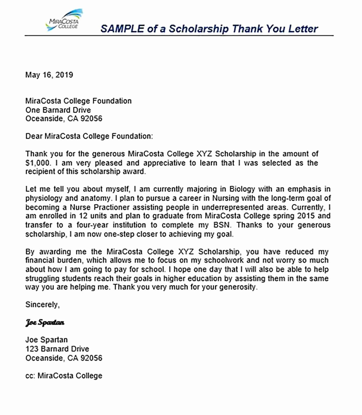 Scholarship Thank You Letter Template Fresh 11 Scholarship Thank You Letter Sample for Doc Pdf Words