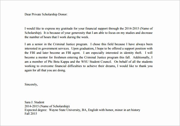 Scholarship Thank You Letter Template Fresh 9 Scholarship Thank You Letter Doc Pdf