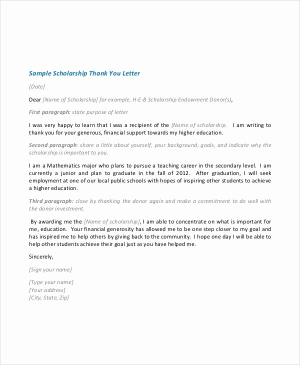 Scholarship Thank You Letter Template Fresh Sample Scholarship Acceptance Letter 6 Documents In Pdf Word