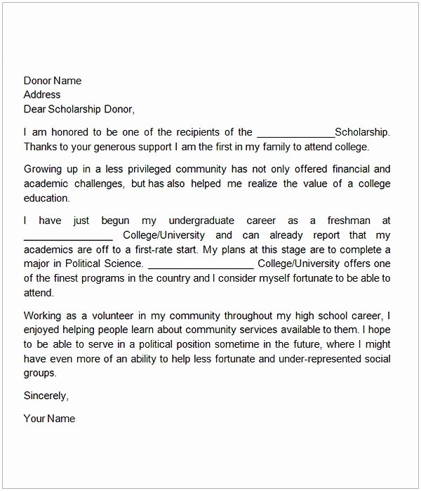 Scholarship Thank You Letter Template Fresh Thank You Letter for Scholarship Sample