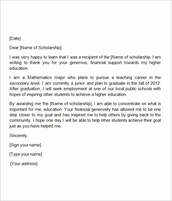 Scholarship Thank You Letter Template Inspirational Free 13 Sample Scholarship Thank You Letters In Doc