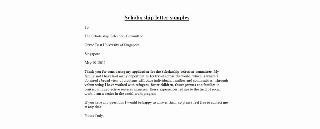 Scholarship Thank You Letter Template New Application Letter format Scholarship Letter