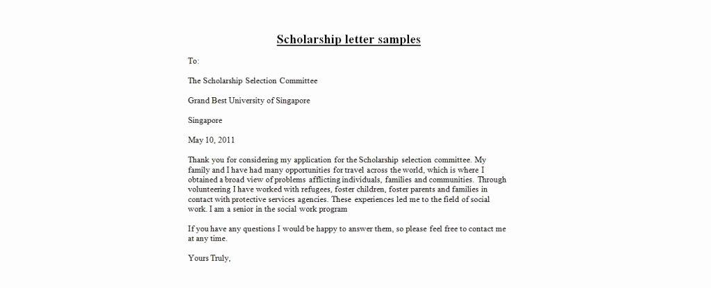 Scholarship Thank You Letter Template New Application Letter format Scholarship Letter