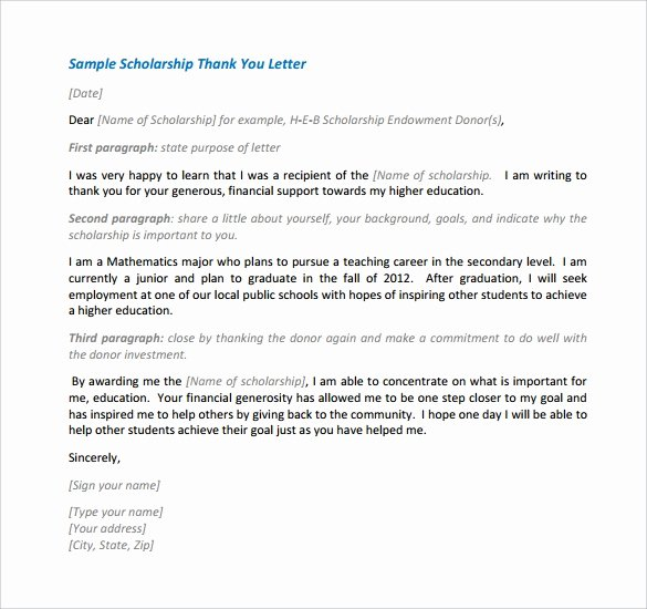 Scholarship Thank You Letter Template New Free 13 Sample Scholarship Thank You Letters In Doc