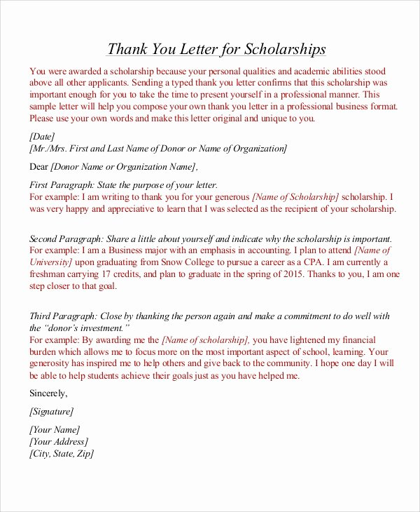 Scholarship Thank You Letter Template New Sample Thank You Letter for Scholarship 7 Examples In Word Pdf