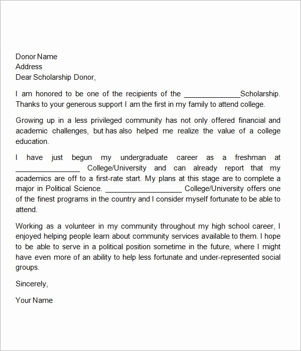 Scholarship Thank You Letters Fresh Free 13 Sample Scholarship Thank You Letters In Doc