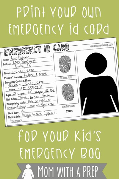 School Emergency Card Template Awesome Emergency Id Cards Free Download Mom with A Prep