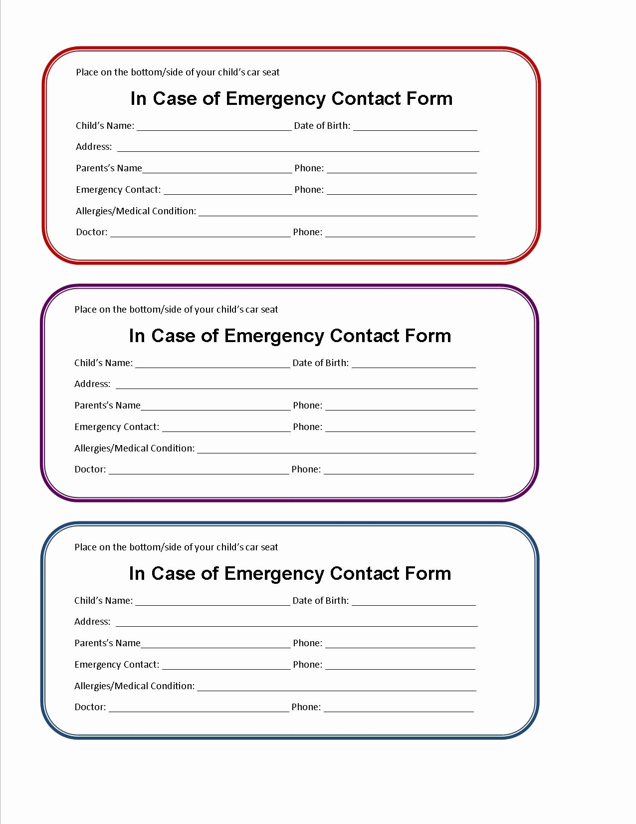 School Emergency Card Template Beautiful Printable Emergency Contact form for Car Seat Super Mom I Am