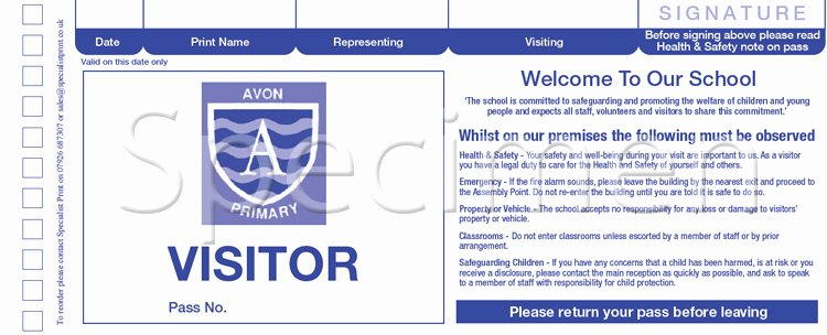 School Emergency Card Template Best Of Specialist Print Visitor solutions