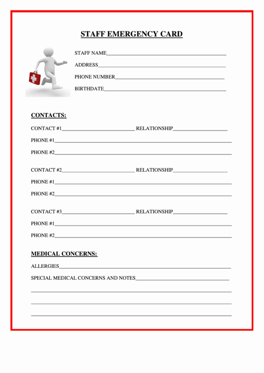 School Emergency Card Template Elegant Staff Emergency Card Printable Pdf