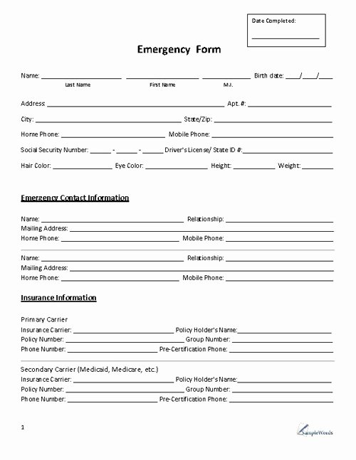 School Emergency Card Template Fresh Emergency form Contact