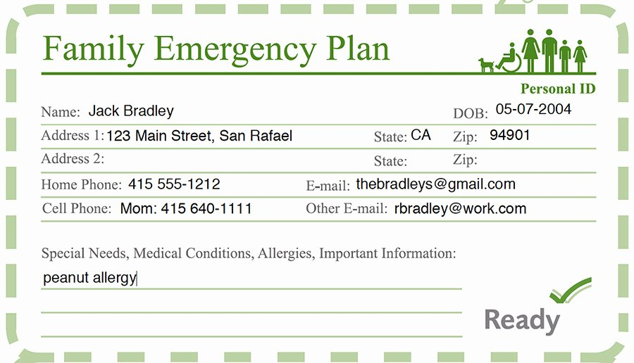 School Emergency Card Template Unique Family Disaster Preparedness