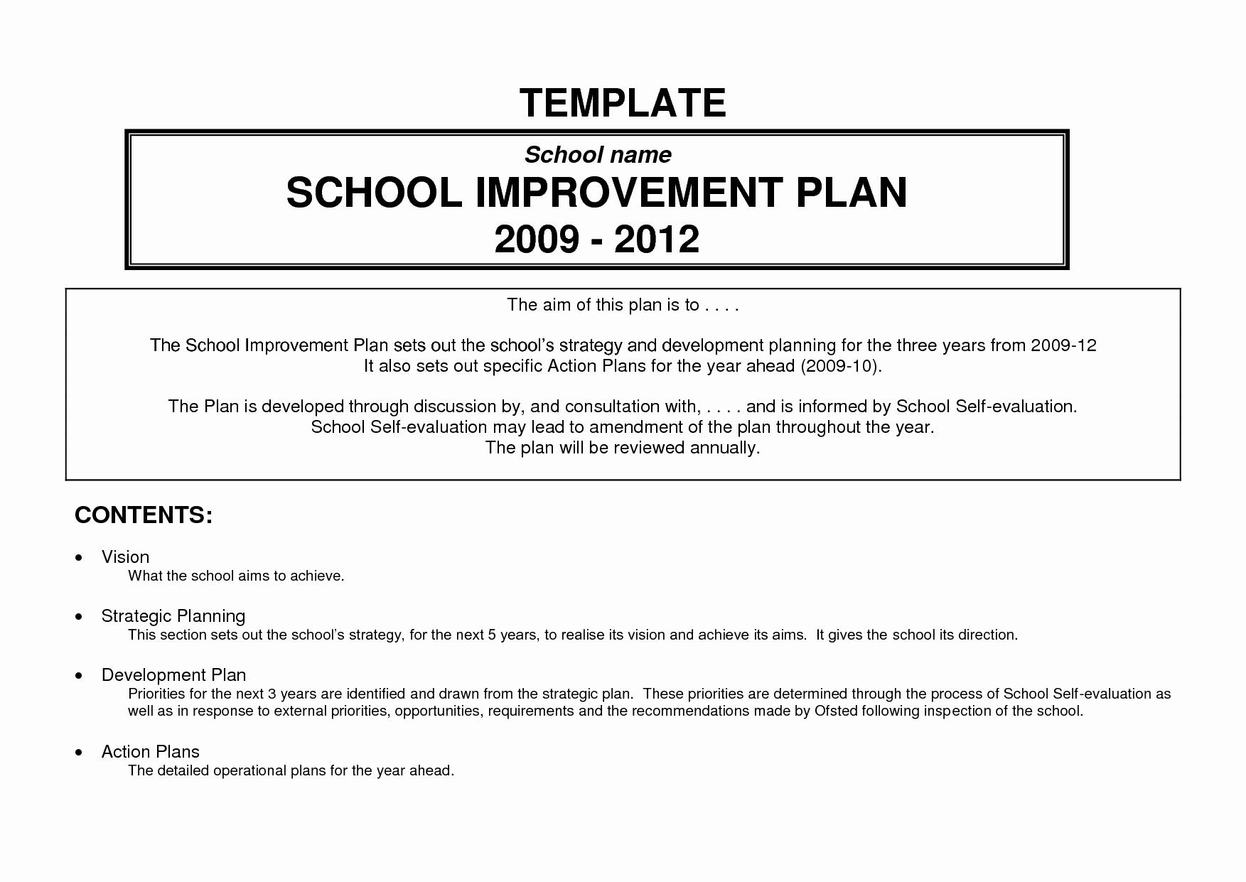 School Improvement Planning Templates Beautiful 24 Of School Improvement Action Plan Template