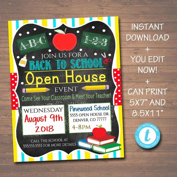 School Open House Invite Best Of Editable School Open House Flyer Printable Pta Pto Flyer
