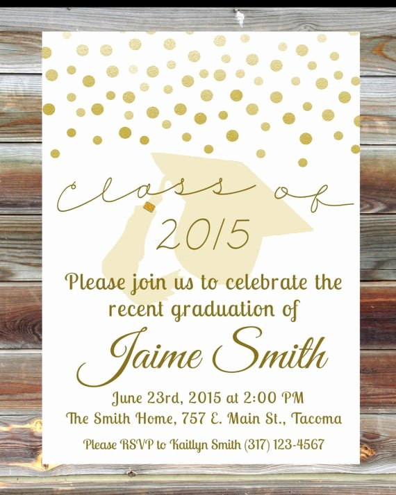 School Open House Invite Best Of Gold Graduation Open House Invitation Custom Graduation