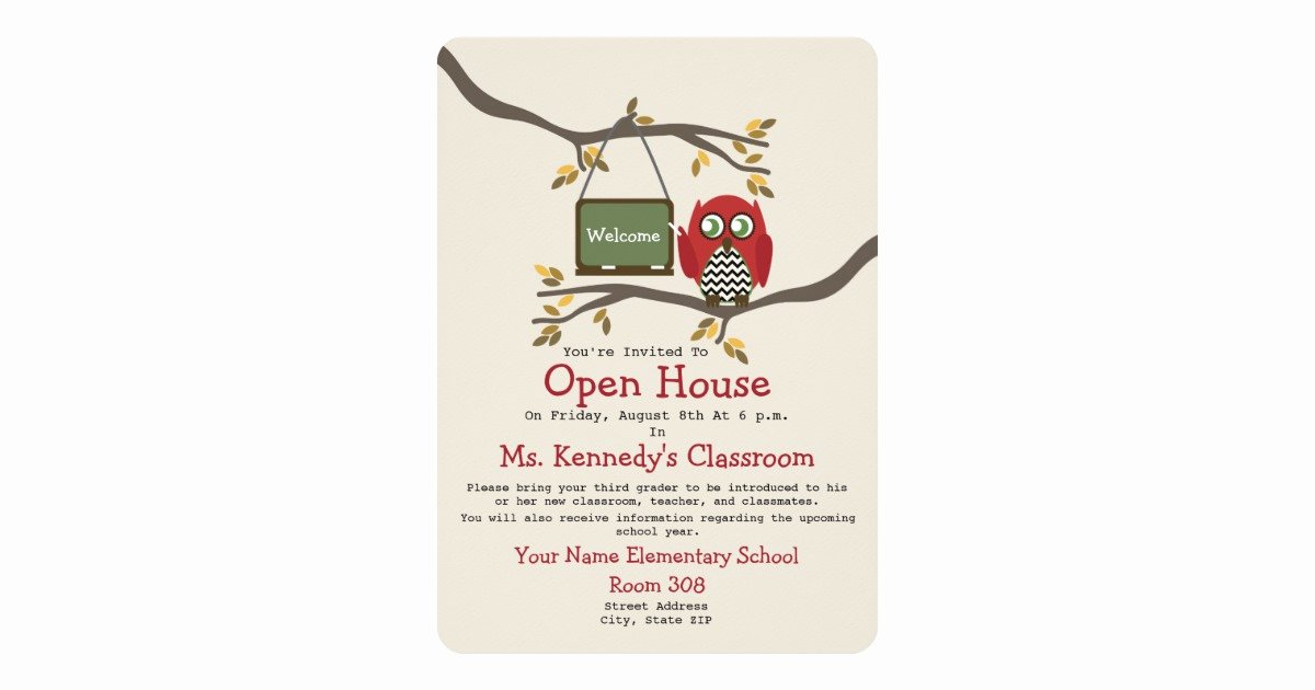 School Open House Invite Best Of Owl Back to School Classroom Open House Invite