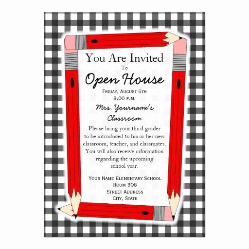 "School Open House Invite Elegant Back to School Open House Invitation 5"" X 7"" Invitation Card"