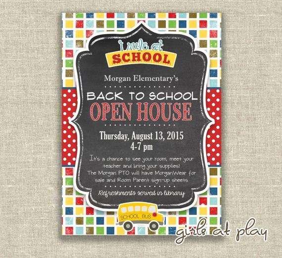 School Open House Invite Unique Items Similar to Back to School Open House Chalkboard Invitation Invite School Bus Students