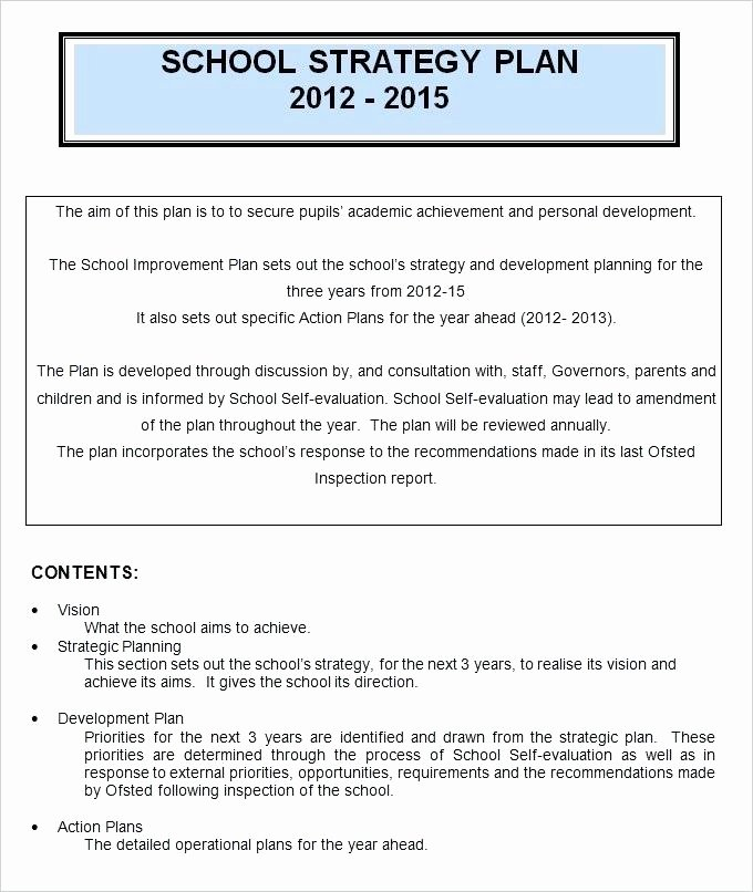 School Strategic Plan Template Awesome School Development Plan Template – Truthread
