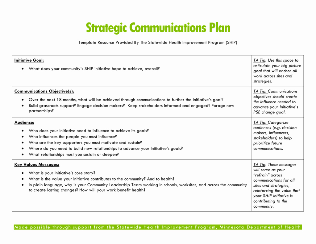 School Strategic Plan Template Luxury Strategic Munications Plan Template Resource Provided by
