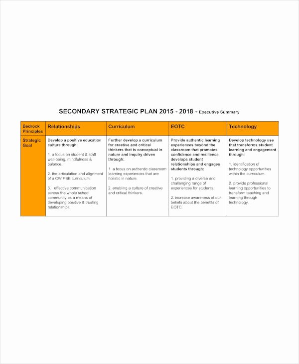 School Strategic Plan Template New 11 High School Strategic Plan Templates Pdf Word