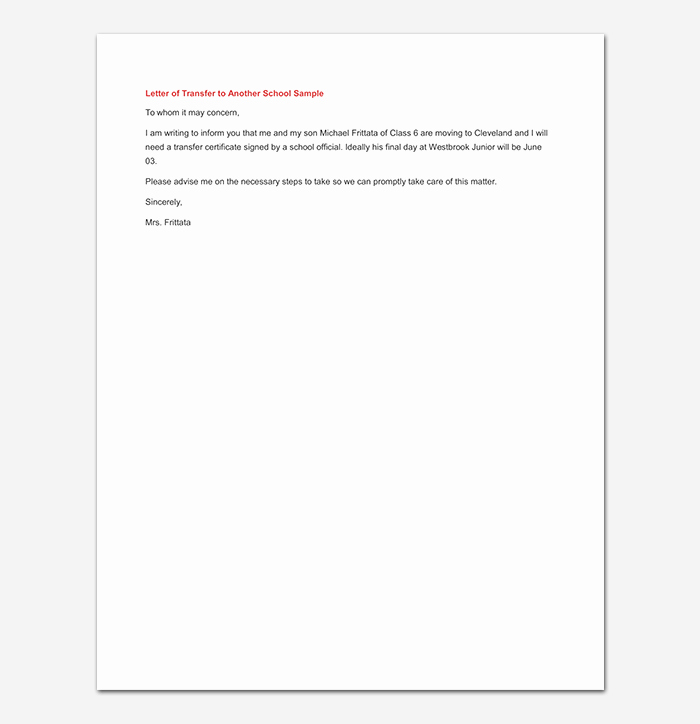 School Transfer Request Letter Best Of Elementary School Transfer Request Letter format Samples & Tips
