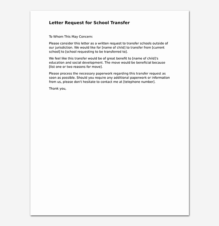 School Transfer Request Letter Elegant Elementary School Transfer Request Letter format Samples & Tips
