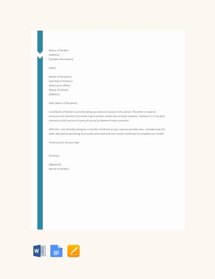 School Transfer Request Letter Inspirational 44 Transfer Letter Templates Pdf Google Doc Excel Apple Pages