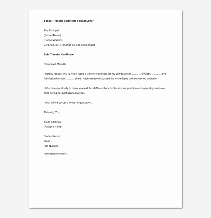 School Transfer Request Letter Lovely Elementary School Transfer Request Letter format Samples & Tips