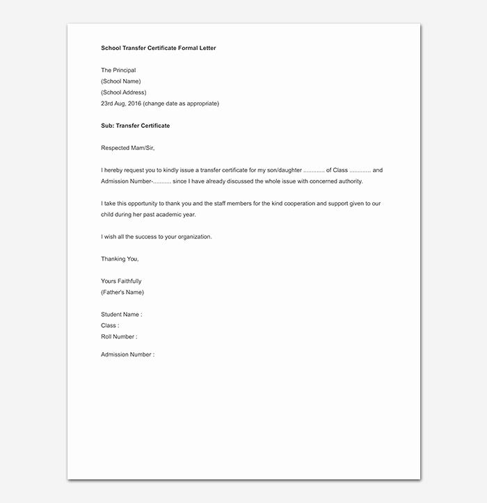 School Transfer Request Letter Lovely Elementary School Transfer Request Letter format Samples & Tips