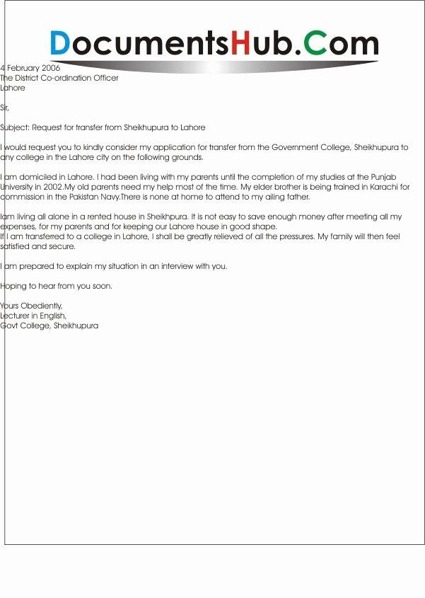 School Transfer Request Letter Lovely Sample Request Letter for Transfer to Other School Application Letter for School Branch