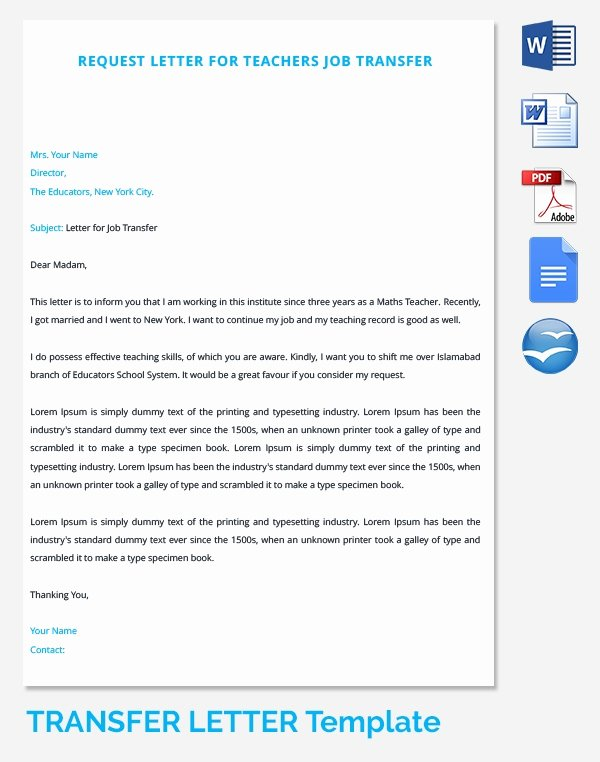 School Transfer Request Letter Luxury 39 Transfer Letter Templates Free Sample Example format