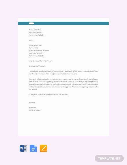School Transfer Request Letter Luxury Free School Transfer Letter to Principal Template Word Google Docs Apple Pages