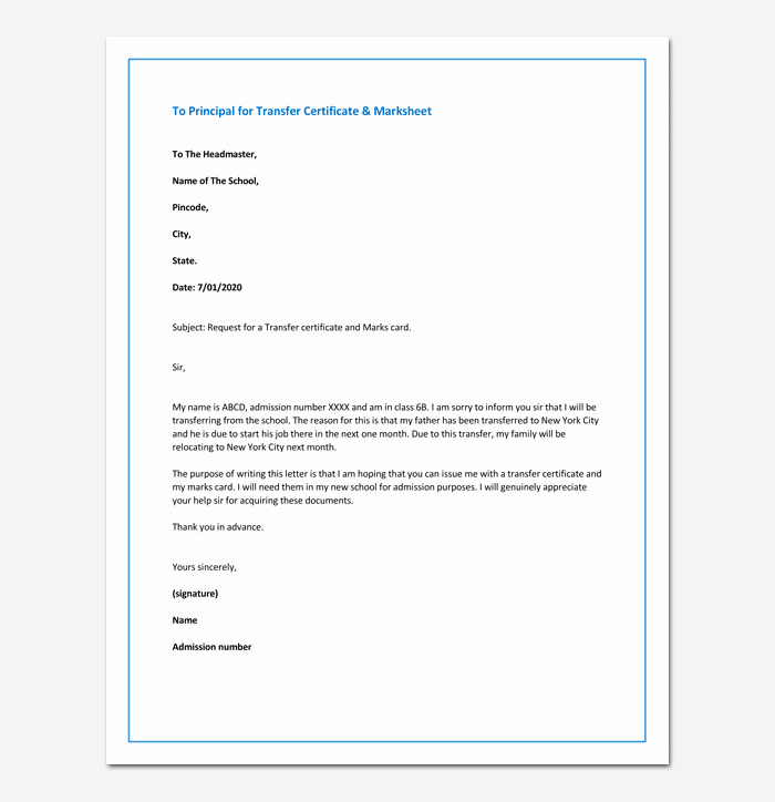 School Transfer Request Letter New Request Letter to Principal for Transfer Certificate & Marksheet