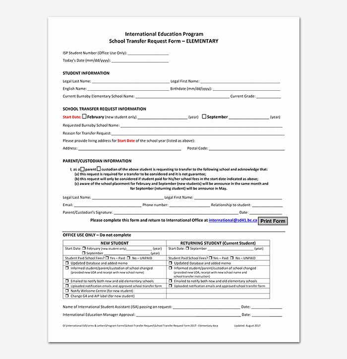 School Transfer Request Letter Unique Elementary School Transfer Request Letter format Samples & Tips
