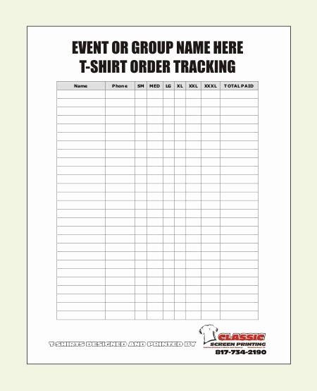 Screen Printing order form Inspirational Blank T Shirt order form Template Party Ideas Pinterest