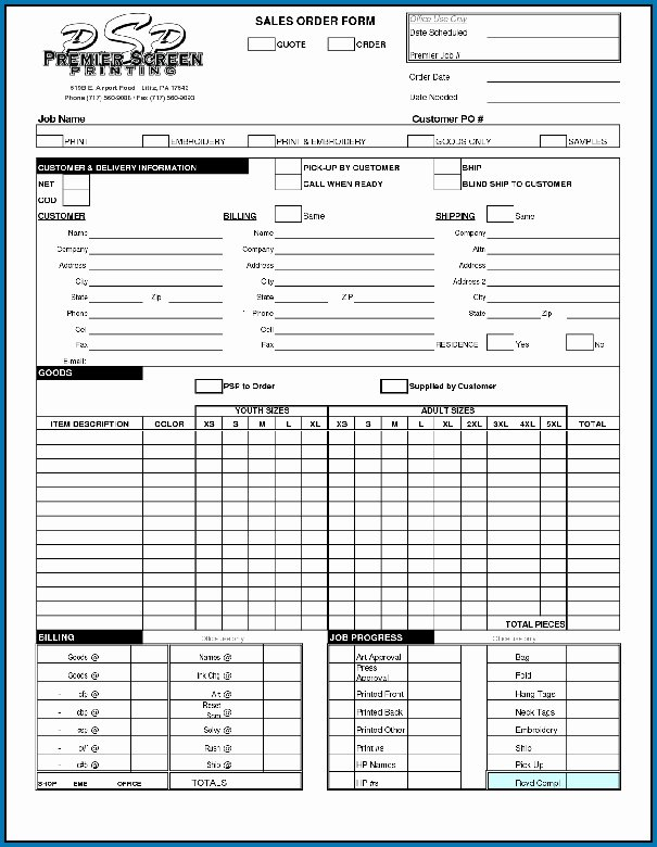 Screen Printing order form Luxury Various Types Work order forms 72