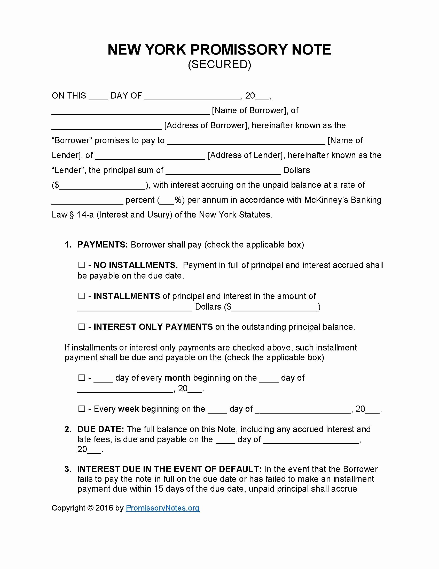 Secured Promissory Note Template Elegant New York Secured Promissory Note Template Promissory Notes Promissory Notes