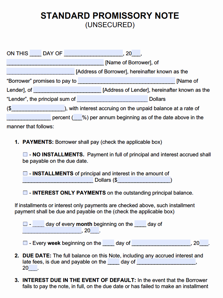 Secured Promissory Note Template Elegant Unsecured Promissory Note Template Promissory Notes Promissory Notes