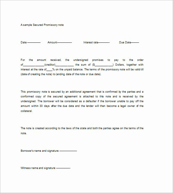 Secured Promissory Note Template Fresh Promissory Note with Collateral – Emmamcintyrephotography