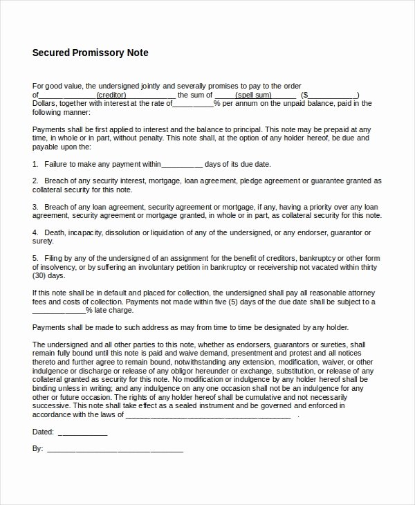 Secured Promissory Note Template New 26 Promissory Note Templates Google Docs Ms Word Apple Pages