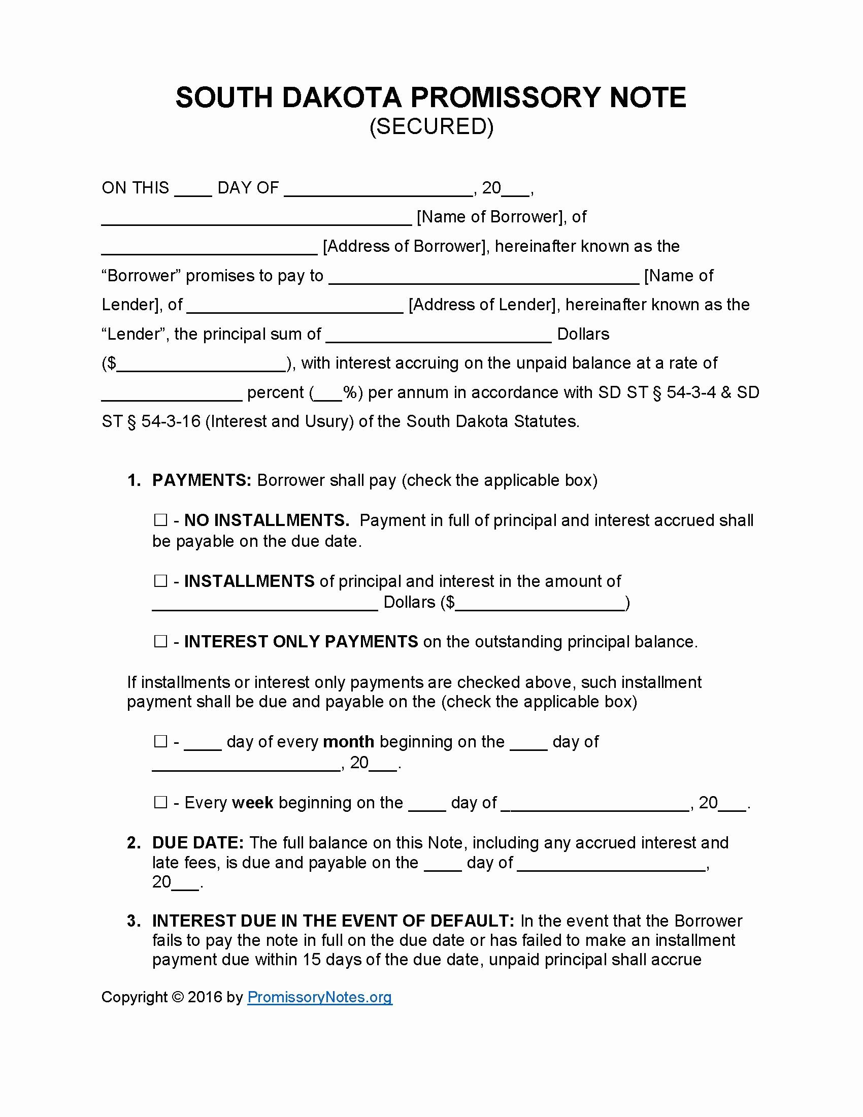 Secured Promissory Note Template Unique south Dakota Secured Promissory Note Template Promissory Notes Promissory Notes