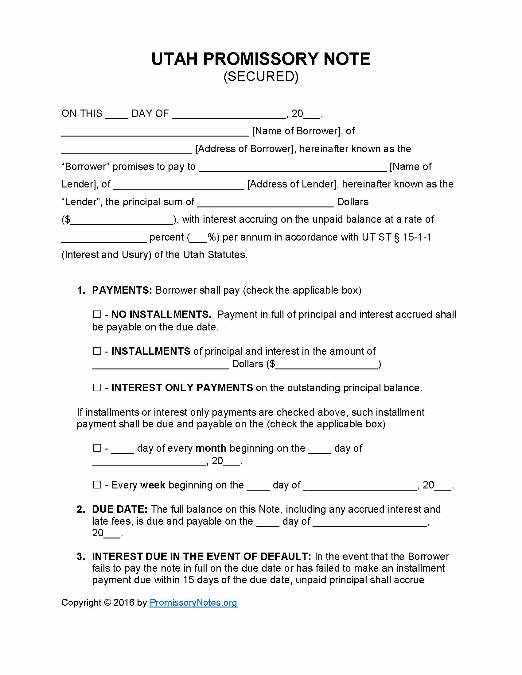 Secured Promissory Note Template Unique Utah Secured Promissory Note Template Promissory Notes Promissory Notes