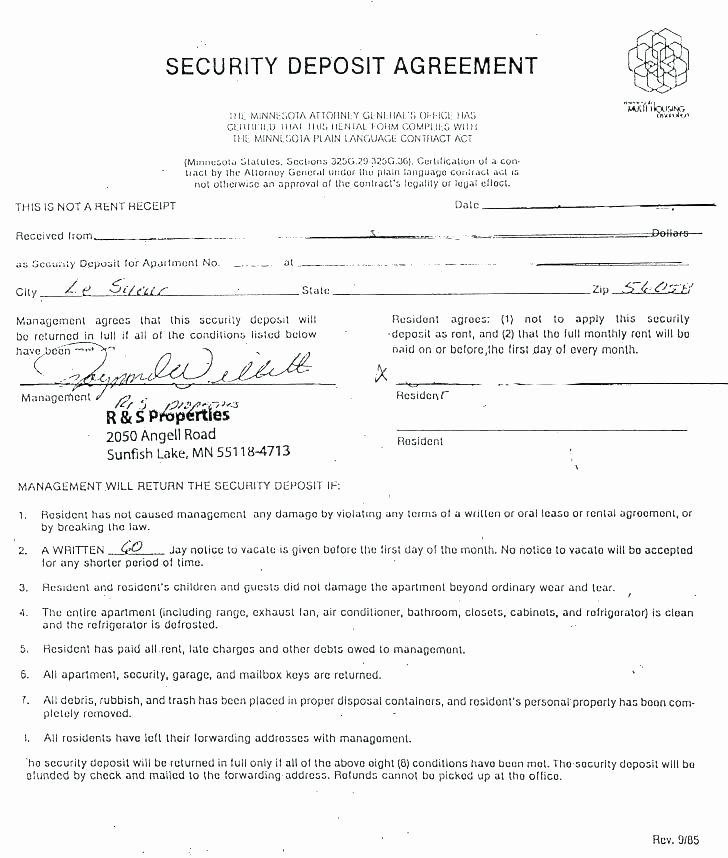 Security Deposit Agreement form Best Of Rental Deposit Agreement Template