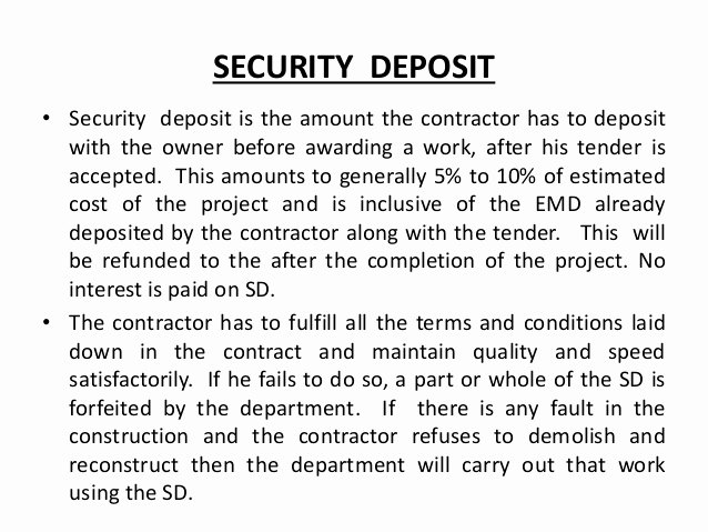 Security Deposit Agreement form Elegant Estimation and Costing Contracts