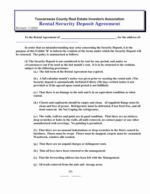 Security Deposit Agreement form Elegant Rental Security Deposit Agreement