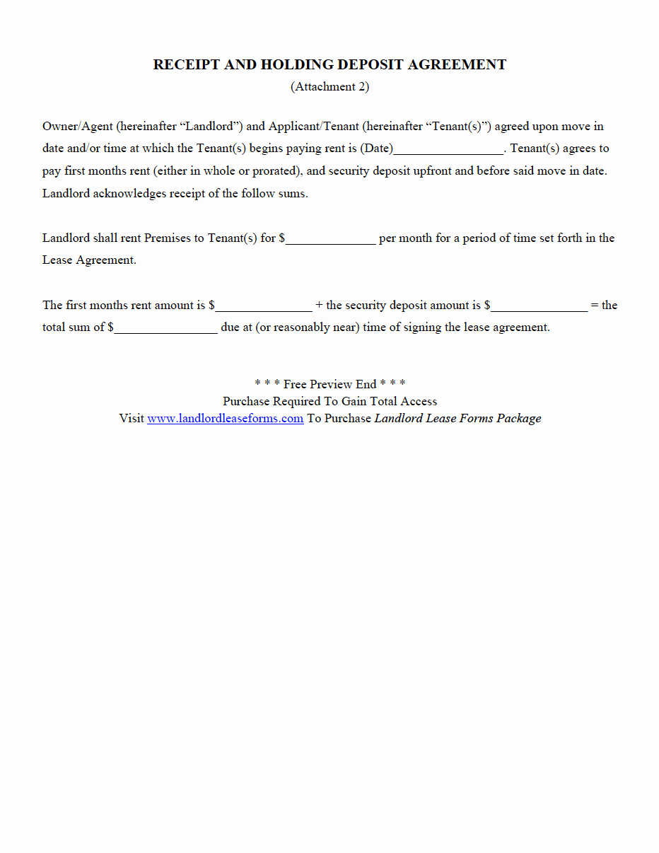 Security Deposit Agreement form Inspirational Landlord Lease forms Residential Lease Agreements