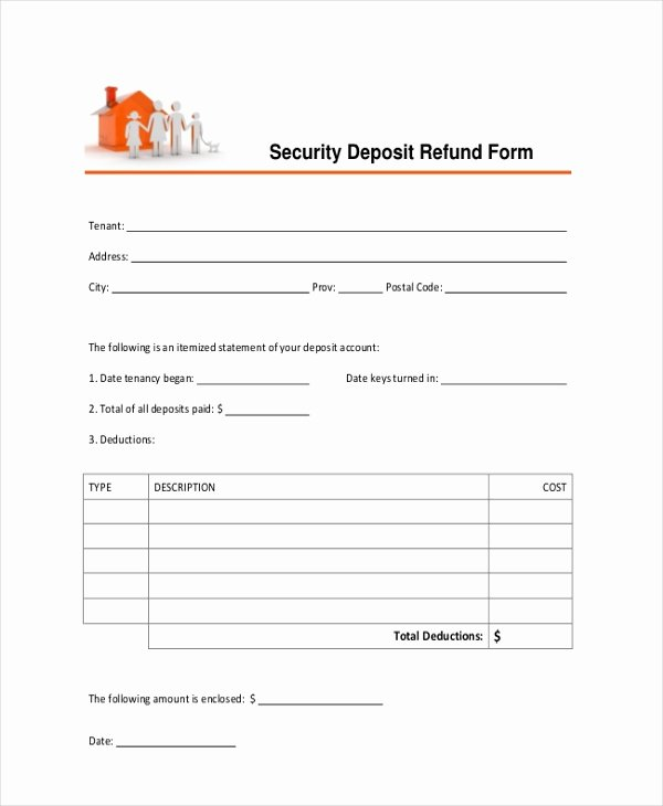 Security Deposit Agreement form New Free 16 Sample Deposit forms