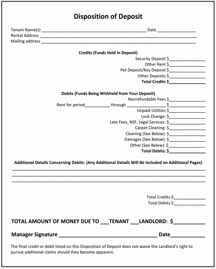 Security Deposit Agreement form New How to Use the Disposition Of Deposit as A Landlord [with
