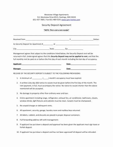 Security Deposit Agreement form Unique 11 Security Deposit Agreement Examples Pdf Word